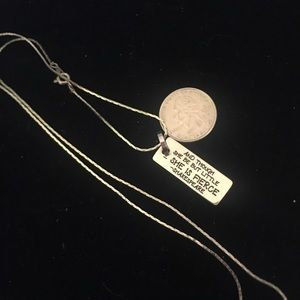 Silver necklace with quote